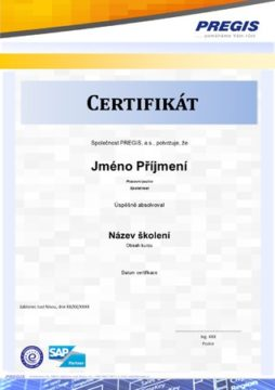 Certifikát absolventa školení PREGIS Academy